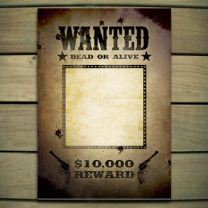 Enterprising image with wanted poster template printable